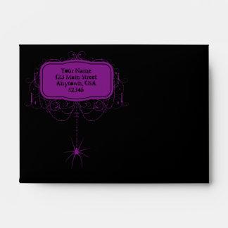 A6 Black & Purple Spider Halloween Party Envelopes