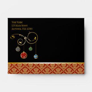 A6 Black Red Damask Ornaments Christmas Envelopes