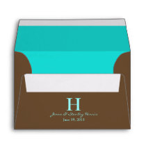 A6 Blue & Brown Monogram Wedding Envelopes