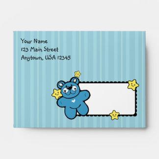 A6 Blue Teddy Bear Striped Baby Shower Envelopes