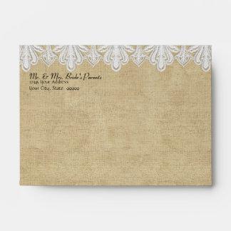 A6 BOHO Printed Burlap n Lace gypsy Modern Mod Envelopes