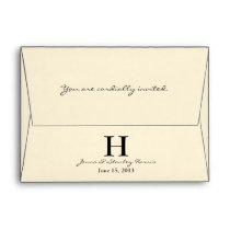 A6 Cream & Black Monogram Wedding Envelopes
