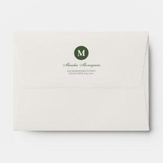 #A6 - Green & Cream Monogram (Green inside) Envelope