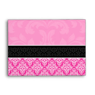 A6 Half Hot Pink Black & White Damask Envelopes