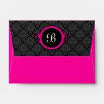 A6 Hot Pink Damask Flap Monogram Envelopes