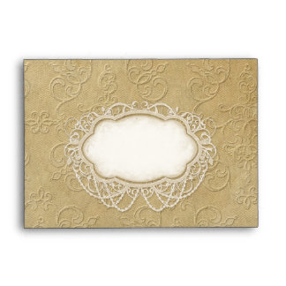 A6 Modern Vintage Lace Tea Stained Hydrangea Roses Envelope