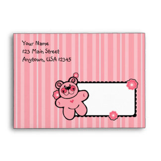 A6 Pink Teddy Bear Striped Baby Shower Envelopes