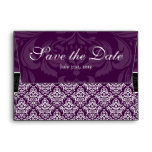 A6 Plum Purple Damask Save the Date Envelope