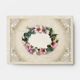 A6 Vintage Floral Lace Wild Pink Rose Swirl Formal Envelope