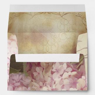 A7 5x7 Beautiful Floral Vintage Hydrangeas Wedding Envelope
