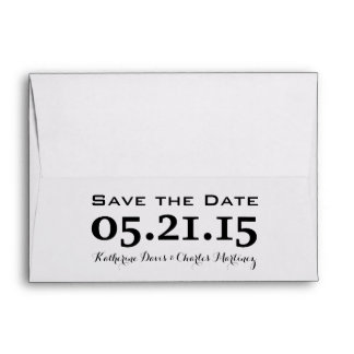 A7 5x7 Black White Save the Date Envelopes