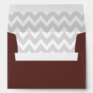 A7 5x7 Brown White Gray Chevron Envelopes