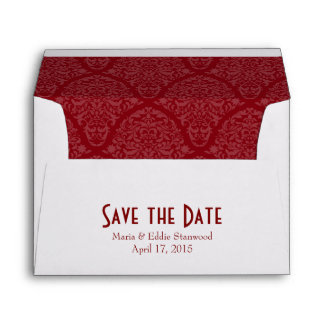 A7 5x7 Burgundy Red White Save the Date Envelopes