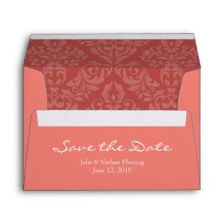 A7 5x7 Coral Save the Date Envelopes