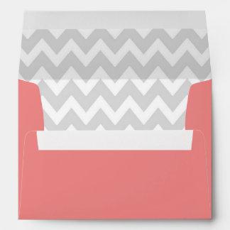 A7 5x7 Coral White Gray Chevron Envelopes