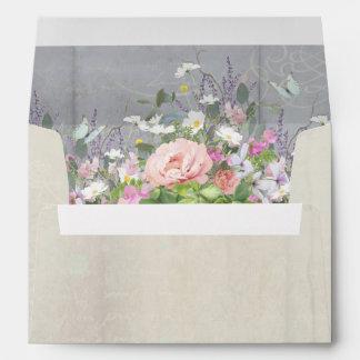 A7 5x7 Envelope Rustic Elegant Peony Wild Flowers