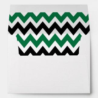 A7 5x7 Green Black White Chevron Envelopes