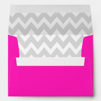 A7 5x7 Hot Pink White Gray Chevron Envelopes