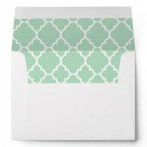 A7 5x7 Mint Green White Quatrefoil Lined Envelopes