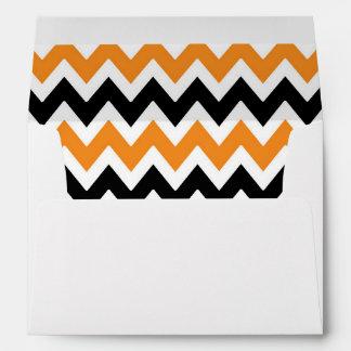 A7 5x7 Orange Black White Chevron Envelopes