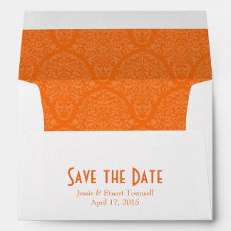 A7 5x7 Orange White Save the Date Envelopes