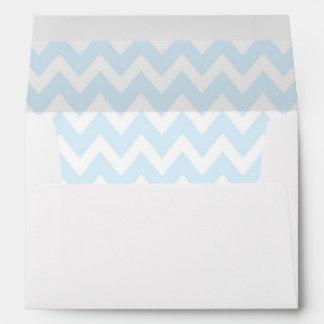 A7 5x7 Powder Blue White Chevron Envelopes