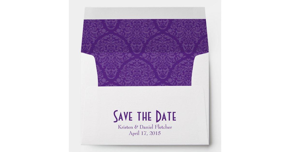 a7 5x7 purple white save the date envelopes zazzle