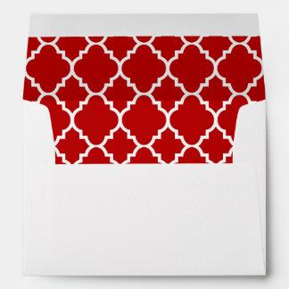 A7 5x7 Red White Quatrefoil Lined Envelopes