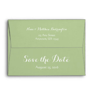 A7 5x7 Sage Green White Save The Date Envelopes