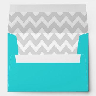 A7 5x7 Teal White Gray Chevron Envelopes