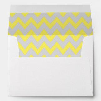 A7 5x7 Yellow Gray Chevron Envelopes
