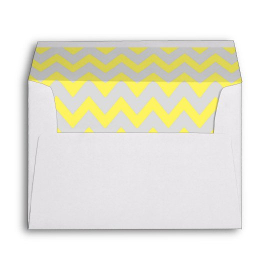 a7 5x7 yellow gray chevron envelopes zazzle com