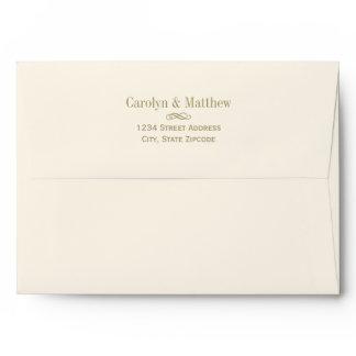 A7 Antique Gold Scroll Return Address Wedding Envelope