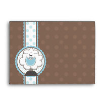 A7 Baby Sheep Blue & Brown Baby Shower Envelopes