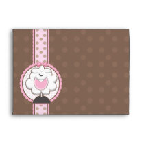 A7 Baby Sheep Pink & Brown Baby Shower Envelopes