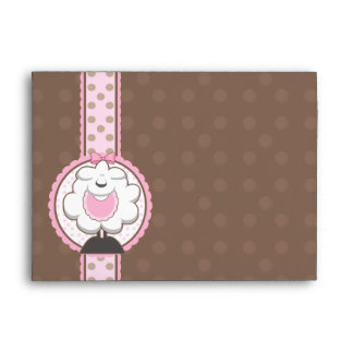 A7 Baby Sheep Pink Brown Baby Shower Envelopes