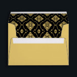 """A7 Black and Gold Vintage Art Deco Wedding Envelope<br><div class=""""desc"""">Custom gold colored wedding envelopes feature an ornate diamond shaped pattern that is printed on the inside flap in black and gold,  and black vintage Art Deco style return address text on outside of the back flap.</div>"""
