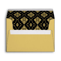 A7 Black and Gold Vintage Art Deco Wedding Envelope