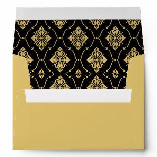 A7 Black and Gold Vintage Art Deco Wedding Envelope