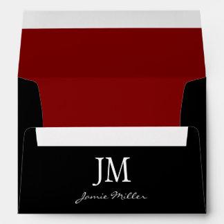 A7 Black and Red Monogram Envelopes