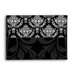 A7 Black and White Damask Flap Envelopes