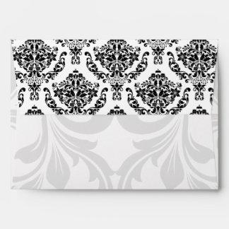 A7 Black and White Damask Flap Envelopes