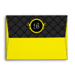 A7 Black and Yellow Damask Flap Monogram Envelopes