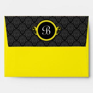 A7 Black and Yellow Damask Flap Monogram Envelopes