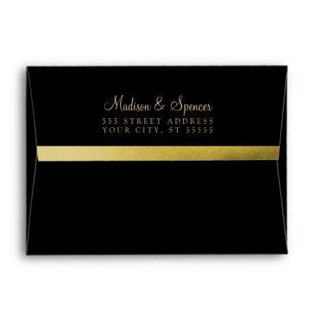 A7 Black Gold Foil Return Address Wedding Mailing Envelope
