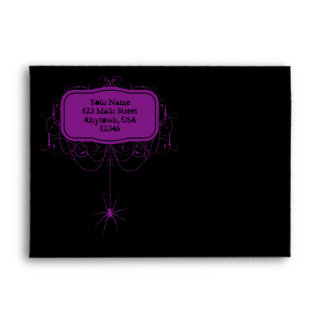A7 Black & Purple Spider Halloween Party Envelopes