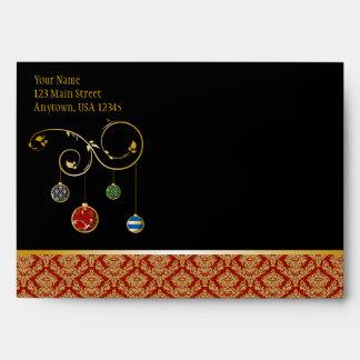 A7 Black Red Damask Ornaments Christmas Envelopes