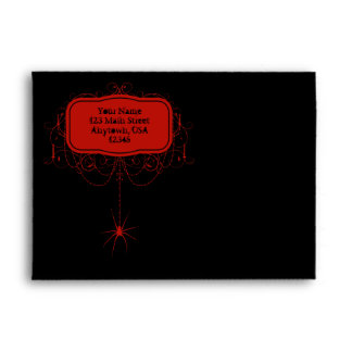 A7 Black & Red Spider Halloween Party Envelopes
