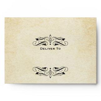 A7 Black Vintage Flourish Wedding Mailing Envelope