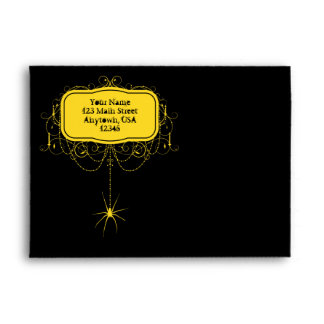 A7 Black & Yellow Spider Halloween Party Envelopes